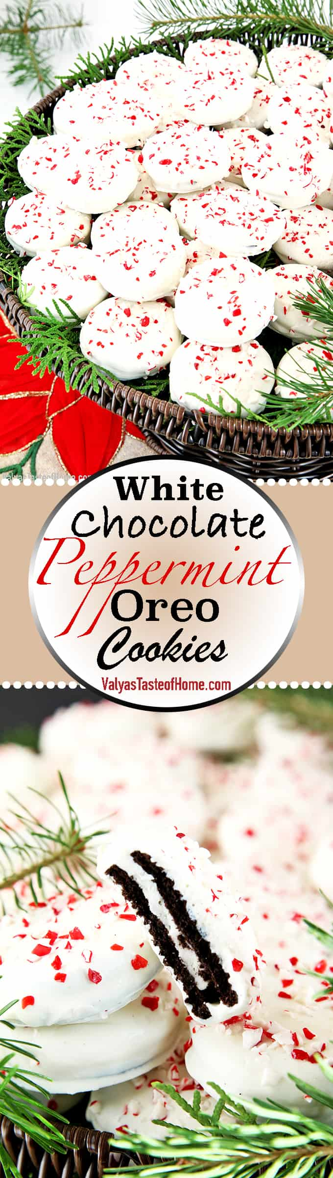 Oreo cookies dipped in white chocolate and sprinkled with crushed peppermint candies are festive, very attractive and beautiful display on a party tray. And kids have a lot of fun together.