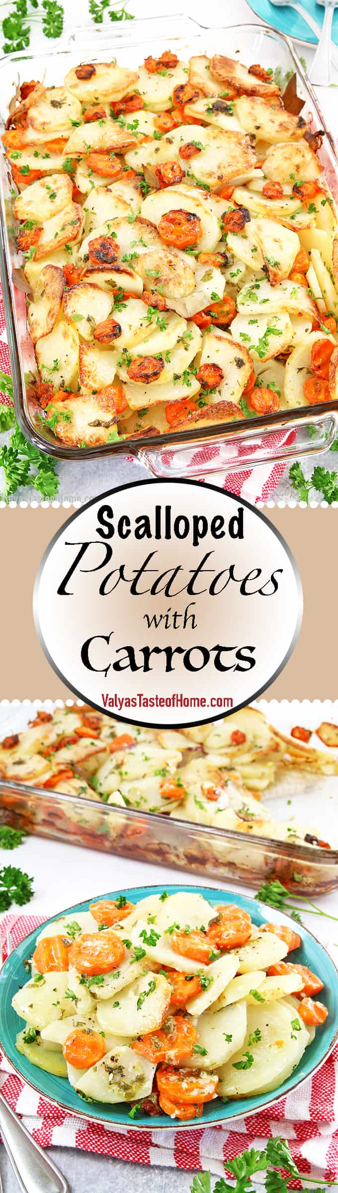 For the love... of potatoes! Scalloped potatoes feature thinly sliced potatoes baked in the oven. This Scalloped Potatoes with Carrots recipe is my modified lighter, quicker version that we make for weeknight dinners. But it also suits the holiday table as well.