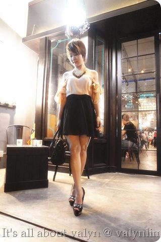 黑裸色露肩雪纺纱裙 (1)