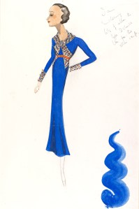 Victor Stiebel (1907-76), fashion design, London, 1934. The flared lower skirt of this blue dress is an example of the new cut characterised by its simplicity. Stiebel introduced a collar with a bow and tall cuffs all designed with multi-coloured ribbon to break the monotony. VAM Museum no. E.1075-1983.