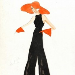 In the 1930s it became fashionable to wear 'house pyjamas' – trousers with large bottoms made in a soft material. These are intended for more formal occasions from house cocktails to cruise parties. Stiebel's design includes halter neck, sleeveless top, bright orange gloves, a brim hat and matching shoes contrasts the large bottom black trousers