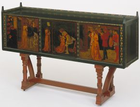St. George Cabinet by William Morris, 1861/62, England, mahogany, pine and oak with copper mounts. Museum no. 341-1906, © Victoria & Albert Museum, London