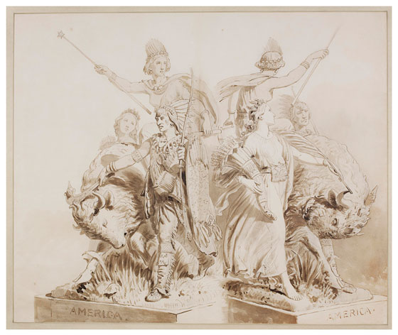 Drawings For The Sculpture Of America Victoria And