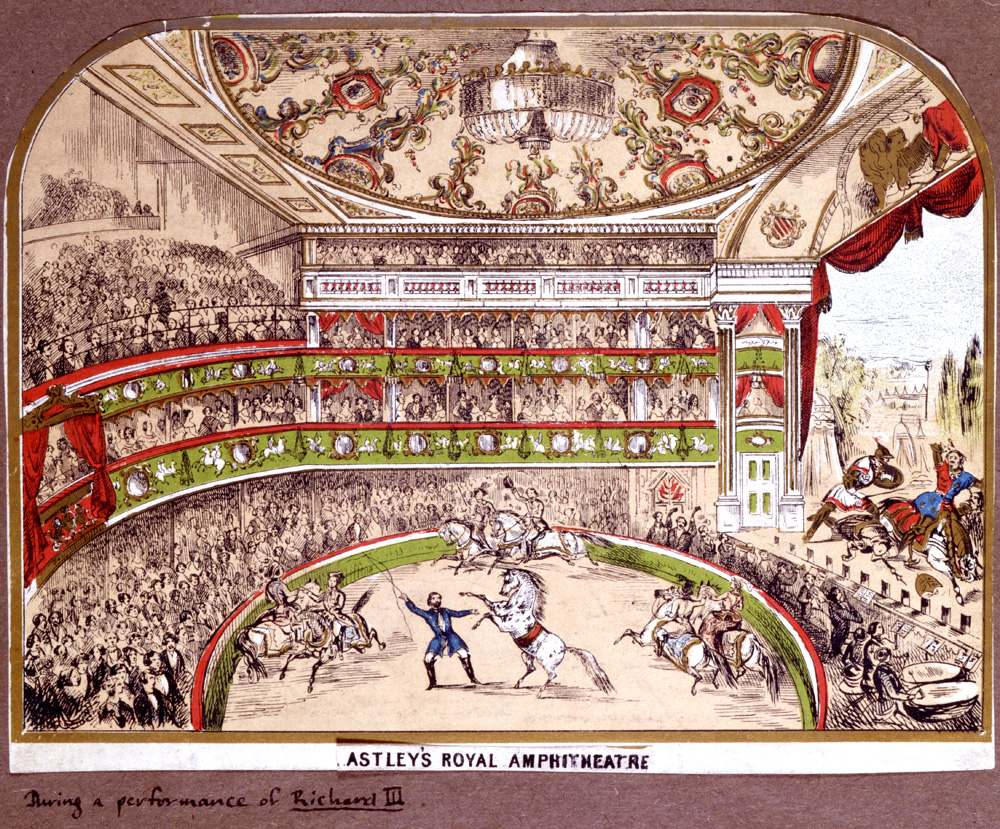 Print illustrating Astley's Royal Amphitheatre, date unknown. Image copyright Victoria & Albert Museum.