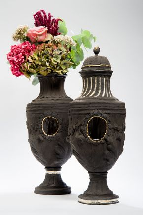 Black Lidded pair from Tresor Decouvert Series, hand built vases, coiled and press moulded. Transparent glaze panelling and 22 carat gold lustre to finish. 45 x 25cm approx, 2014.