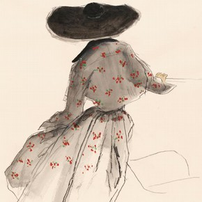 Bernard Blossac (1917-2001), fashion illustration, Paris or London, late 1940s. Museum no. E.167-1987Bernard Blossac (1917 - 2001). Blossac was a fashion illustrator, who regularly drew for Vogue, L'Officiel and Harper's Bazaar. This drawing depicts a black bolero with a floral pattern in the 'New Look' style.