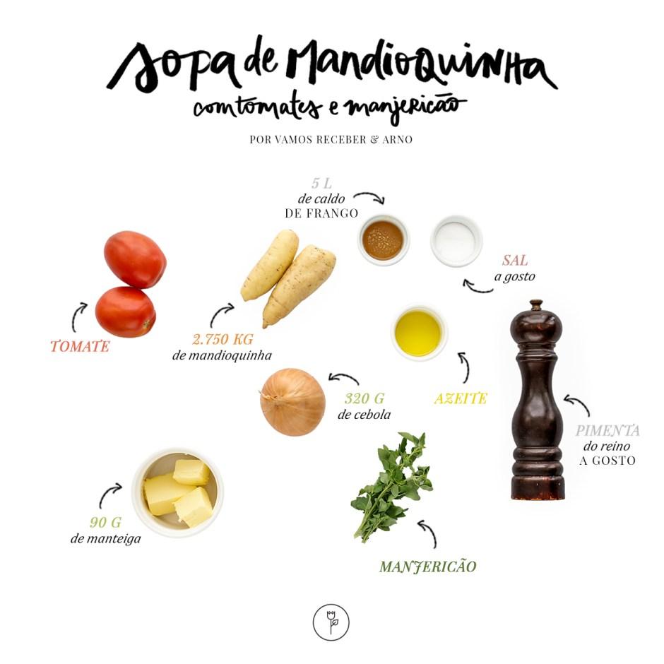 receita de sopa de mandioquinha com tomates e manjericã