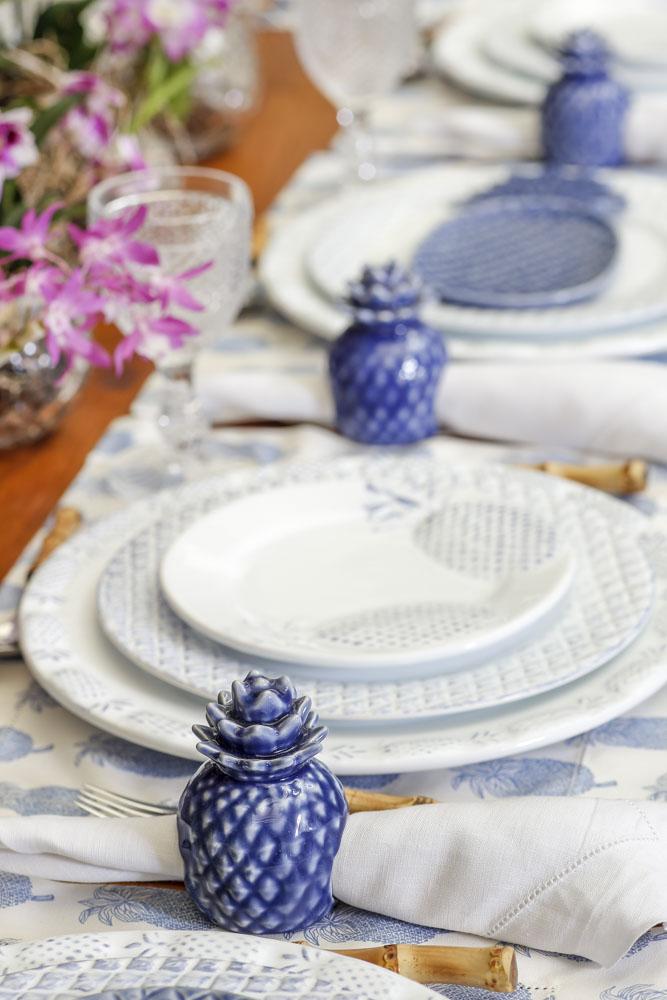 piquenique azul e branco porta-guardanapo abacaxi