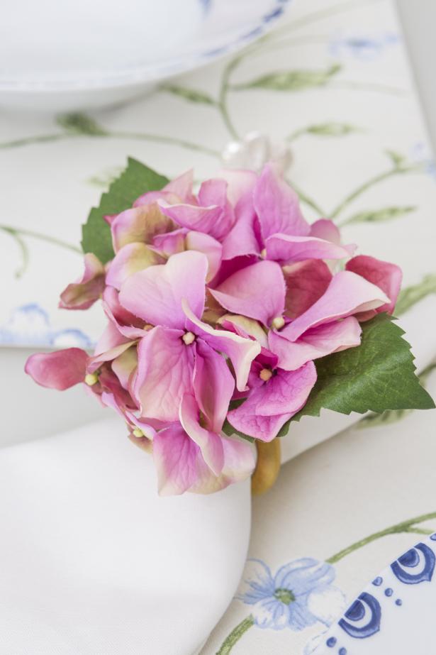 porta-guardanapo de hortênsia rosa