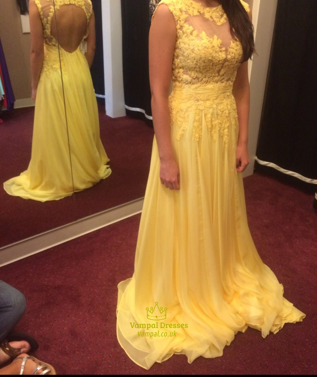 Yellow Lace Embellished Open Back Cap Sleeve Long Prom