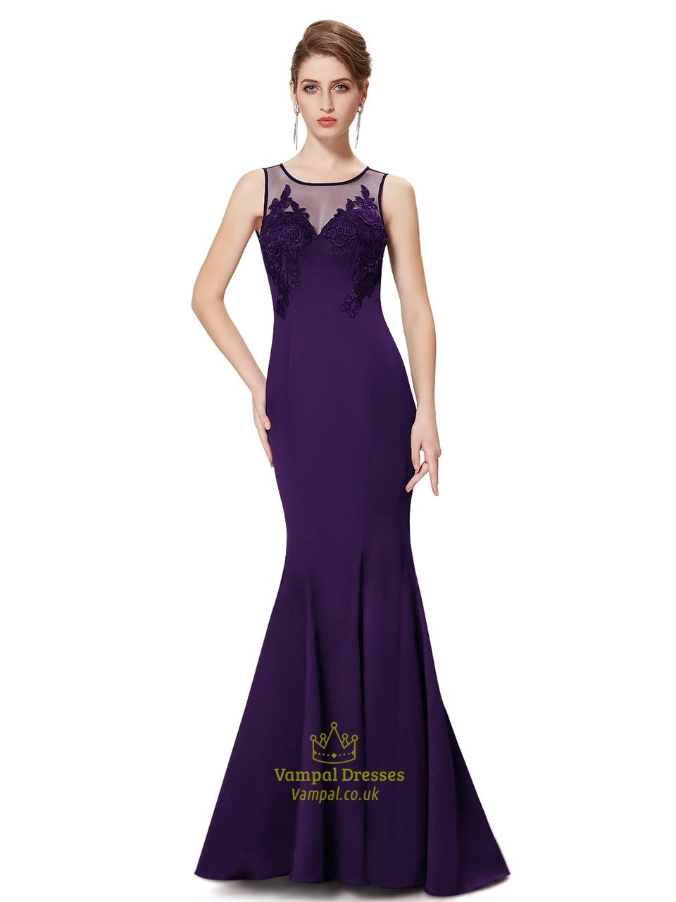 Purple Mermaid Illusion Neckline Prom Dresses With Floral