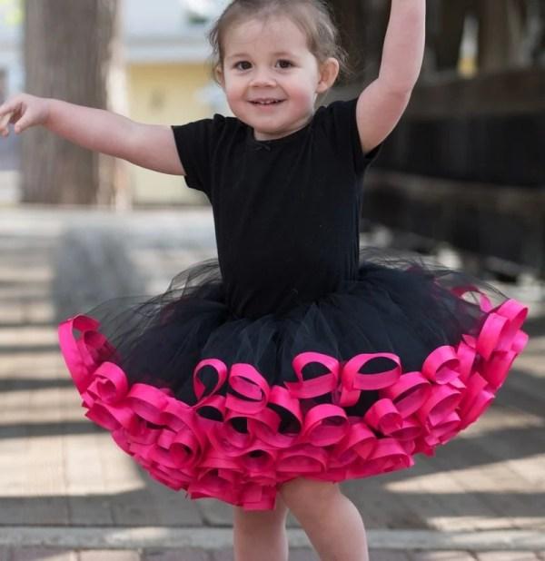 hot pink and black tutu dress