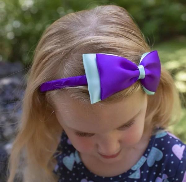 purple blue hair bow