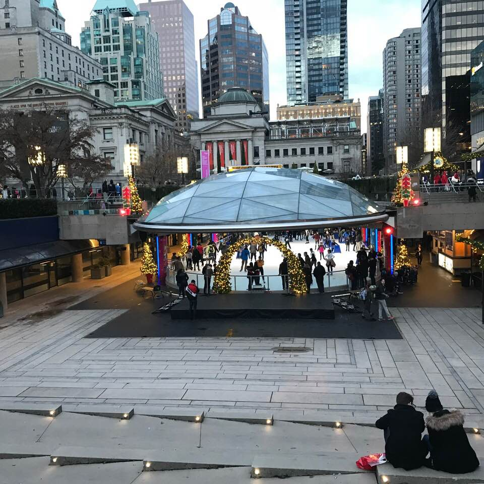 Robson Square skating rink open on Christmas Day