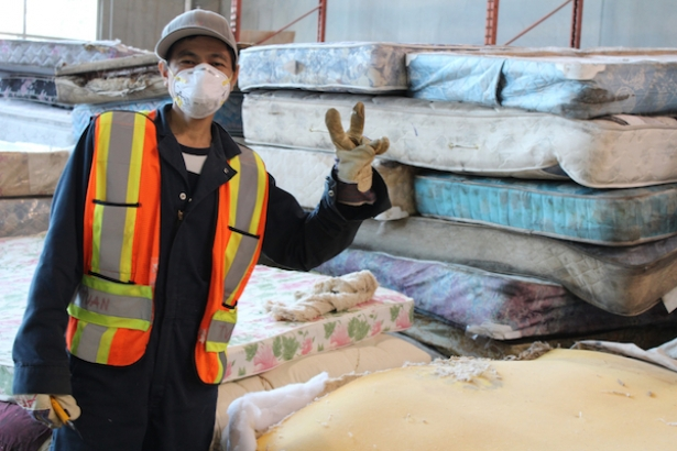 One Of 40 Employees Vancouver S Mattressrecycling Ca Recovering Valuable Material In A Product Until Recently Thrown Into Incinerator Or Landfill