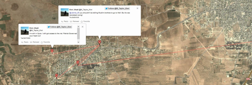 Map of Mark Taylor tweets in Syria