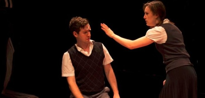 Kenton Klassen and Pippa Johnstone in the 2014 production of Gruesome Playground Injuries.
