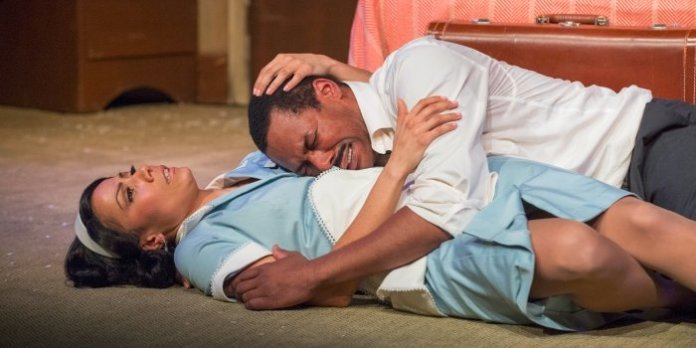 Crystal Balint and Dion Johnstone in The Mountaintop. Photo by David Cooper.