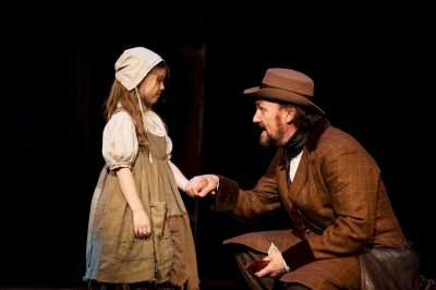 Jaime Olivia MacLean as Young Cosette and Kieran Martin Murphy as Jean Valjean. Photo by Ross den Otter.