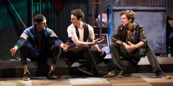 Conor Stinson O'Gorman as Sonny, Nathan Kay as Bobby and Gregory Radzimowski as Willie in the Studio 58 production of The Crowd. Photo by Emily Cooper.