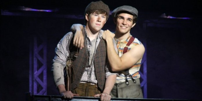 Zachary Sayle and Joey Barreiro in the North American touring company of production of Disney's Newsies. ©Disney. Photo by Shane Gutierrez.