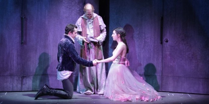 Andrew Chown, Scott Bellis & Hailey Gillis in Romeo and Juliet. Photo by David Blue.
