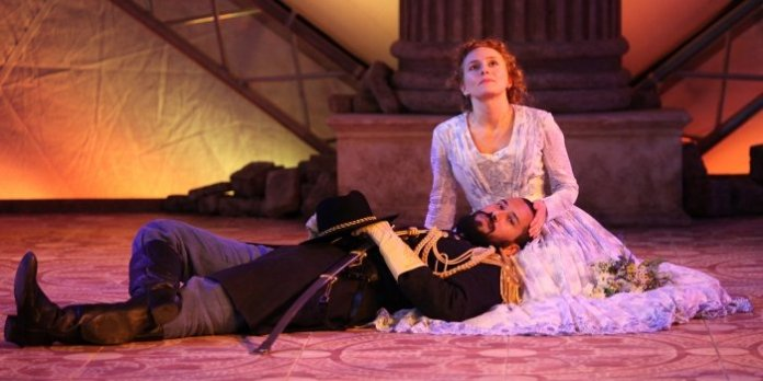 Luc Roderique & Kayla Deorksen in the Bard on the Beach Shakespeare Festival production of Othello. Photo by David Blue.