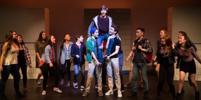 Graham Verchere as Evan Goldman (centre) and members of the cast of 13: The Musical. Photo by Nicol Spinola.