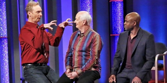 Colin Mochrie (centre) with Ryan Stiles and Wayne Brady in the CW Network reboot of Whose Line is it Anyway? Photo by Robert Voets / The CW.