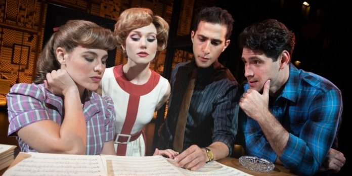 Sarah Bockel (Carole King), Alison Whitehurst (Cynthia Weil), Jacob Heimer (Barry Mann), and Dylan S. Wallach (Gerry Goffin) in Beautiful: The Carole King Musical. Photo by Joan Marcus.