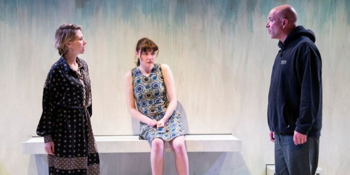 Lindsey Angell as Woman, Emily Jane King as Girl, and Ian Butcher as Ty in Mortified. Photo by Emily Cooper.