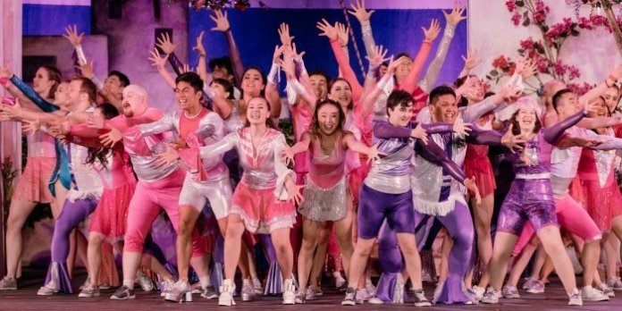 Members of the cast in the Theatre Under the Stars production of Mamma Mia! Photo by Lindsay Elliott.
