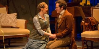 Kate Dion-Richard and Matthew MacDonald-Bain in the Arts Club Theatre Company production of Miss Bennet: Christmas At Pemberley. Photo by Sarah McNeil.
