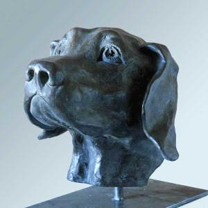 figurative sculpture, elizabeth-patrick-dog-vancouver-sculpture-studio