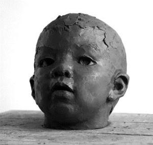 portrait head clay sculpture of baby