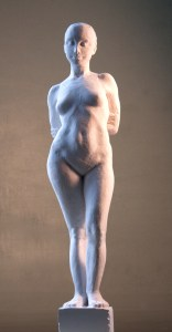 standing femal nude sculpture in plaster