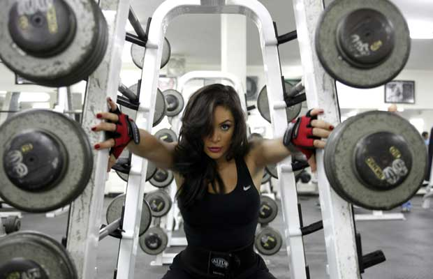 Jordanian body-builder Farah Malhass, 26, trains at a gym in Amman on April 28, 2010.