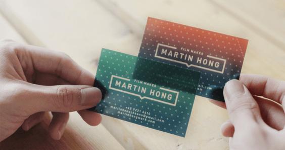 Filmmaker Martin Hong's business card, designed by Warren Tey