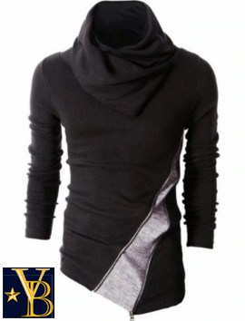 zippered cleft shirt black Vanderbilt Bijl