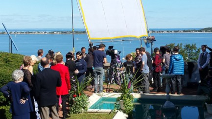 "Seeting up for a scene in ""Nick and Nicky"" on mansion terrace overlooking Northport Bay"