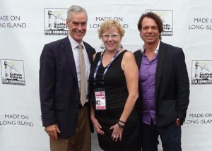 At the 24th annual Hamptons International Film Festival, from left, Lance Reinheimer of the Vanderbilt Museum, Dianna Cherryholmes of the Suffolk County Office of Film and Cultural Affairs, and Patrick Askin, producer, writer and actor. Photo by Erin Reyes