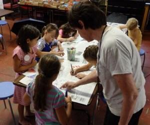 Vanderbilt educator works with children in a creative workshop Vanderbilt Museum photo