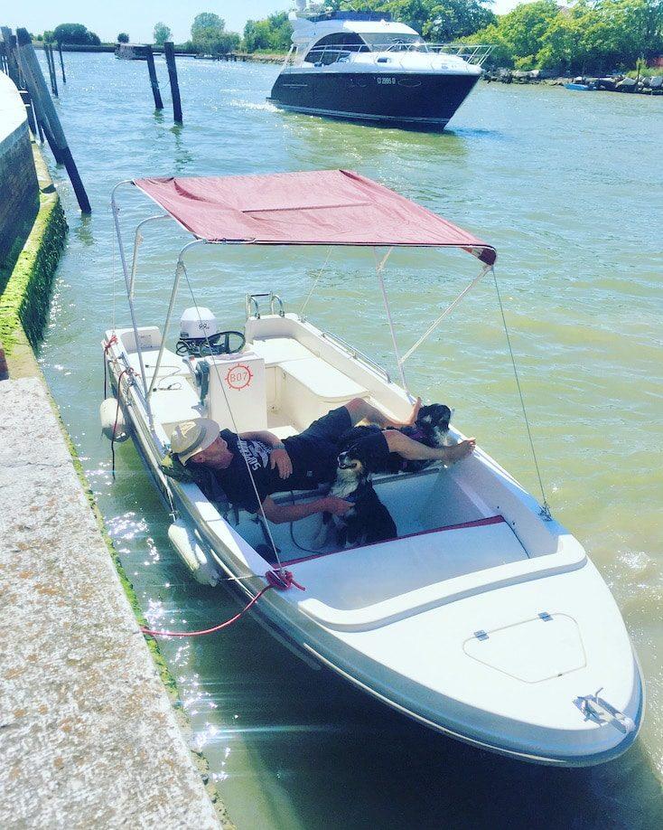 Lagune von Venedig Ausflug mit Hund Boot Motorboot Burano Laguniamo