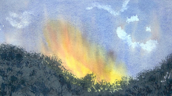 Fire in the Sky (watercolour 32 x 19)