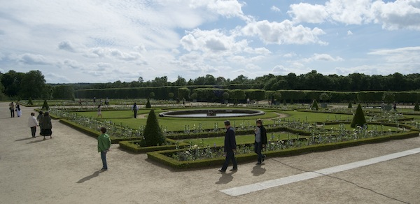 Grand Trianon garden is laid out like a geometric carpet of flowers, lawn and pathways.