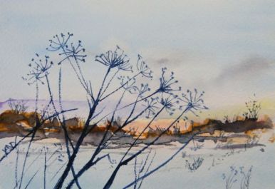 Winter Hedgerow (watercolour 6 x 4 inch). Artist: Vandy Massey