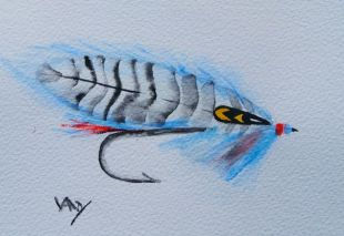 Fishing fly painting: General MacArthur (watercolour 15 x 10 cm)