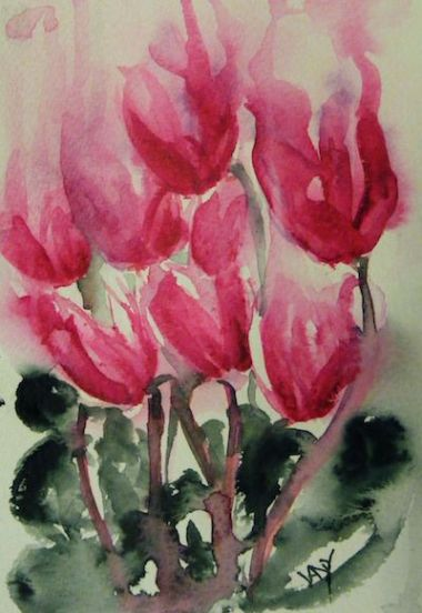 watercolour flowers: Cyclamen Dance (watercolour 10 x 15 cm)