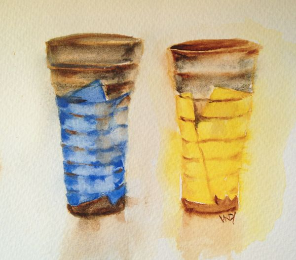 Japanese Mugs in watercolour