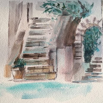 Old Stone Stairs - painting Paxos watercolours